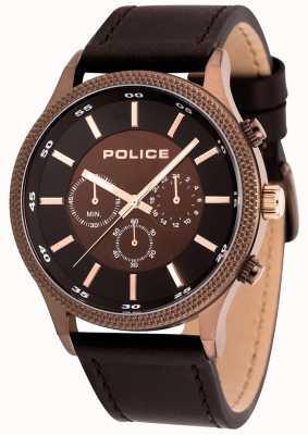 Police Mens tempo bruin lederen horloge 15002JSBN/12