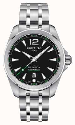 Certina Heren ds actie horloge quartz roestvrijstalen armband zwarte wijzerplaat C0328511105702