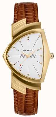 Hamilton Ventura goudbruin lederen bandhorloge H24301511