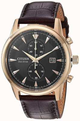 Citizen Heren chronograaf bruin lederen band CA7003-06E