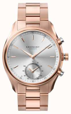 Kronaby 43mm sekel bluetooth rosé gouden metalen armband smartwatch A1000-2745