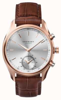 Kronaby 43 mm sekel * gezien in gq bluetooth rosegold / lederen smartwatch A1000-2746