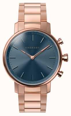 Kronaby 38mm carat bluetooth rosé gouden armband blauwe wijzerplaat smartwatch A1000-2445