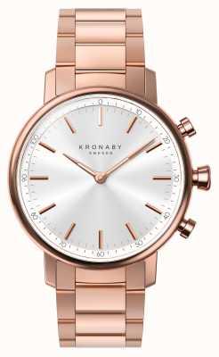 Kronaby 38mm karaat bluetooth rosé gouden armband zilver a1000-2446 S2446/1