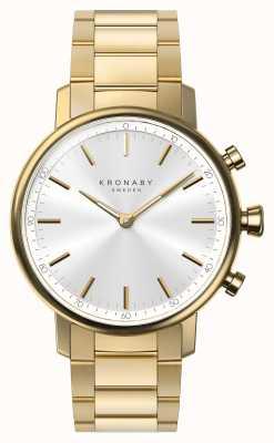 Kronaby 38mm carat bluetooth gouden armband zilverkleurige wijzerplaat smartwatch A1000-2447
