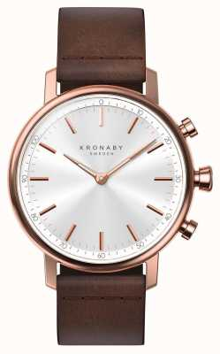 Kronaby 38mm carat bluetooth roségouden lederen band smartwatch A1000-1401