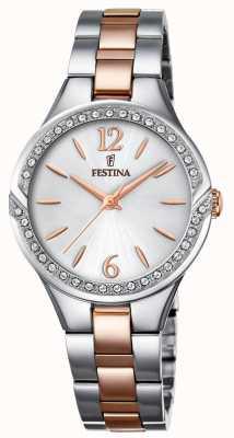Festina Dames two tone roestvrijstalen armband zilveren wijzerplaat F20247/1