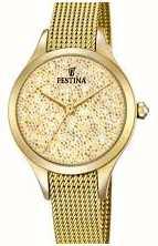 Festina Dames mademoiselle goud pvd mesh swarovski wijzerplaat F20337/2