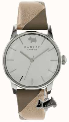 Radley Dames zilver 35mm kast zilver / witte wijzerplaat zilveren honden charme RY2647