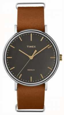 Timex Fairfield 41mm bruin lederen band verchroomd etui TW2P97900