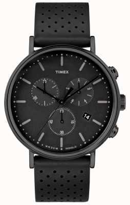 Timex Fairfield chrono zwarte leren riem / zwarte wijzerplaat TW2R26800