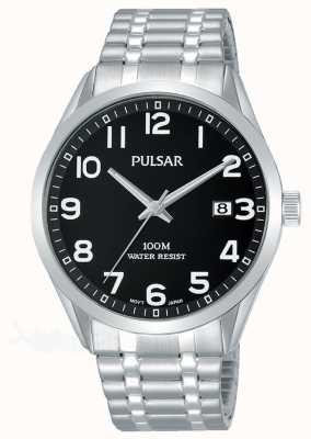 Pulsar Zwarte wijde roestvrijstalen uitschuifbare armband voor heren PS9563X1