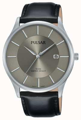 Pulsar Zwarte lederen band met datumdisplay in roestvrij staal PS9545X1