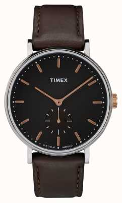 Timex Fairfield silvertone-kast zwarte wijzerplaat en bruine riem TW2R38100