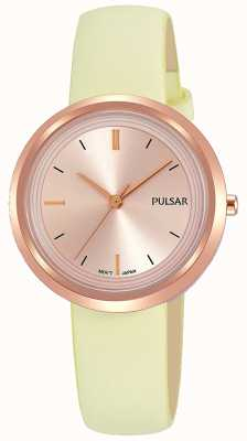 Pulsar Rose gouden kast en wijzerplaat lederen band PH8394X1