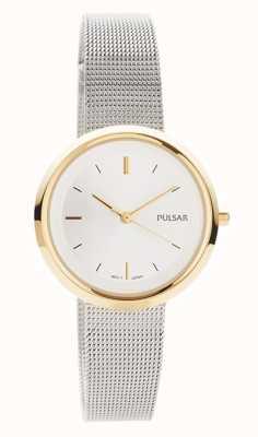 Pulsar Dames   roestvrij stalen gaas armband   ronde gouden kast   PH8386X1