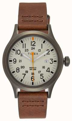 Timex Geallieerde 40 bruine lederen band / natuurlijke wijzerplaat TW2R46400