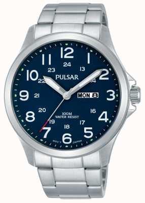 Pulsar Heren roestvrij stalen armband blauwe wijzerplaat dag datum PJ6095X1
