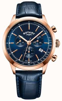 Rotary Herenhorloge in cambridge chronograaf blauw leer GS05257/05