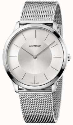 Calvin Klein Mens minimale grijze mesh armband zilveren wijzerplaat K3M2T126