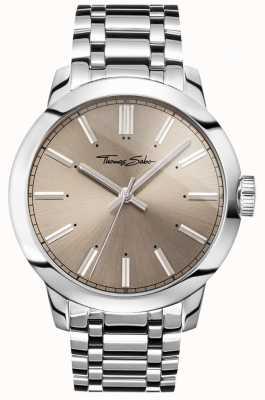 Thomas Sabo Heren rebel op hart horloge roestvrij stalen armband grijze wijzerplaat WA0311-201-214-46