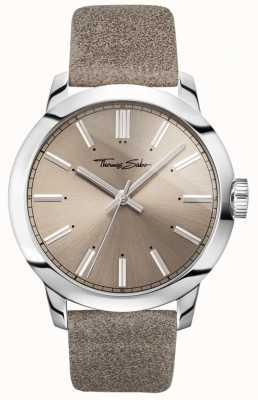Thomas Sabo Heren rebel van hart horloge grijze lederen band grijze wijzerplaat WA0313-273-214-46