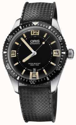 Oris Divers vijfenzestig automatische rubberen band zwarte wijzerplaat 01 733 7707 4064-07 4 20 18