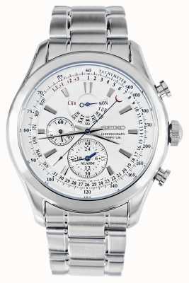 Seiko Alarm chronograaf horloge zilveren armband witte wijzerplaat SPC123P1