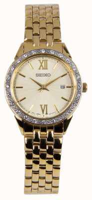 Seiko Dames kijken gouden armband gouden wijzerplaat SUR688P1