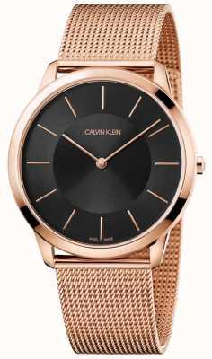 Calvin Klein Mens minimaal roségouden mesh armband zwart wijzerplaathorloge K3M2T621