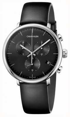 Calvin Klein Heren hoog middag zwart lederen band chronograaf horloge K8M271C1