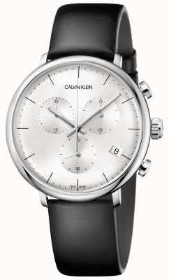 Calvin Klein Heren hoog middag zwart lederen band chronograaf horloge K8M271C6