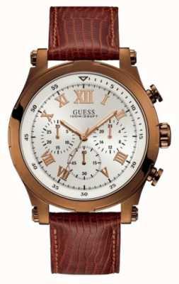 Guess Anker heren sport chronograaf bruine ronde W1105G2