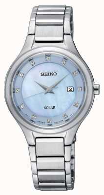 Seiko Womens coutura zonne zilveren armband lichtblauwe wijzerplaat SUT351P9