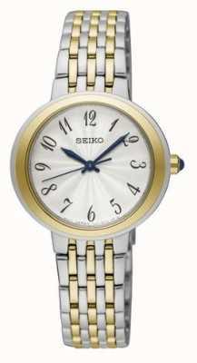 Seiko Dames tweekleurige zilveren en gouden armbandhorloge SRZ506P1