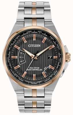 Citizen Mens wereld eeuwigdurend op roestvrij staal en roségoud ip CB0166-54H