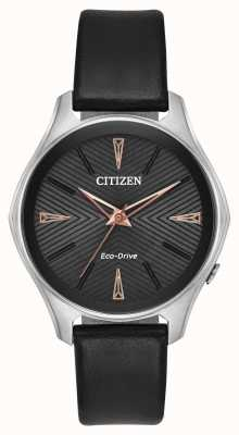 Citizen Dames zwart lederen modena eco-drive horloge EM0591-01E