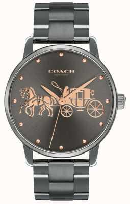 Coach Grote zwarte ip-plated dameshorloge & armband rosegoud print 14502924