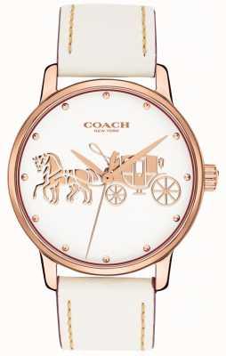 Coach Grote witte lederen damesriem rosé gouden kast witte wijzerplaat 14502973