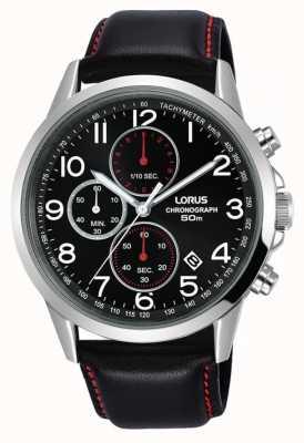 Lorus Heren chronograaf horloge zwart lederen band zwarte wijzerplaat RM369EX8