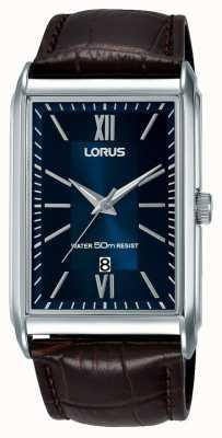 Lorus Heren rechthoekige wijzerplaat lederen blauwe wijzerplaat RH911JX9