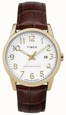 Timex Gemakkelijk leesbare handtekening met datum 38 mm lederen horloge TW2R65100
