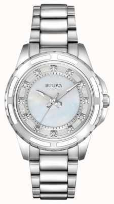 Bulova Dames designer diamant parelmoer 96S144