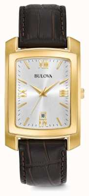 Bulova Heren dress bruin lederen band 97B162