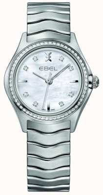 EBEL Wave 66 diamanten gezet kwarts 30mm parelmoer dameshorloge 1216194