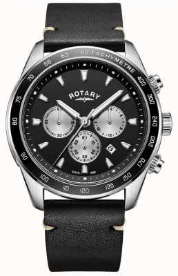 Rotary Heren henley horloge zwarte chrono wijzerplaat zwarte lederen band GS05115/04