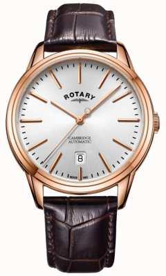 Rotary Heren cambridge horloge rosé goudkleurige kast lederen band GS05252/02