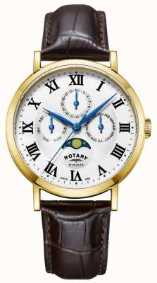 Rotary Leren herenhorloge met windsor moonphase GS05328/01