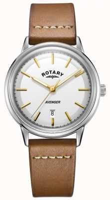Rotary Heren avenger horloge zilverkleurige toon bruine lederen band GS05340/02