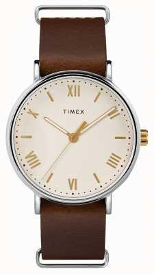 Timex Mens 41mm southview bruin lederen riem crème wijzerplaat TW2R80400